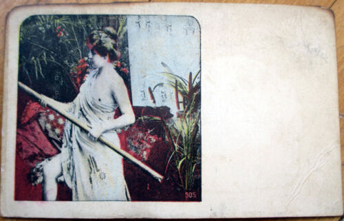1905 Risque Postcard Partially NudeTopless Woman wLong Pole