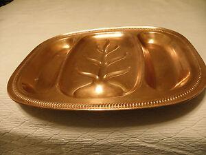 Vintage copper meat serving platter, marked