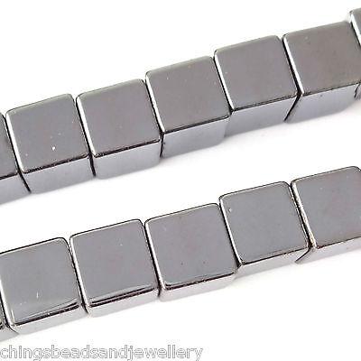 16 Inch Gemstone Hematite 4mm Cube Beads