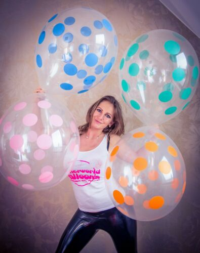 "crystal-clear 10 x Unique 16/"" Riesenluftballons POLKA DOTS kristall-klar *"