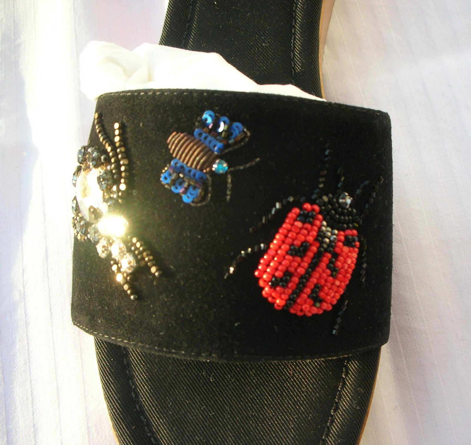 Etro etro Clogs sandalias plataforma sandalias de cuero negro 41 11 NP 695,- UE bordada