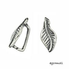 2 Antiqued Sterling Silver Leaf Pinch Bail Pendant Clasp #97520