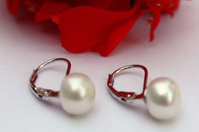 YR005  7,6mm Süßwasser Perlen Schmuck Ohrringe Ohrstecker Ohrhänger 925 Silber !