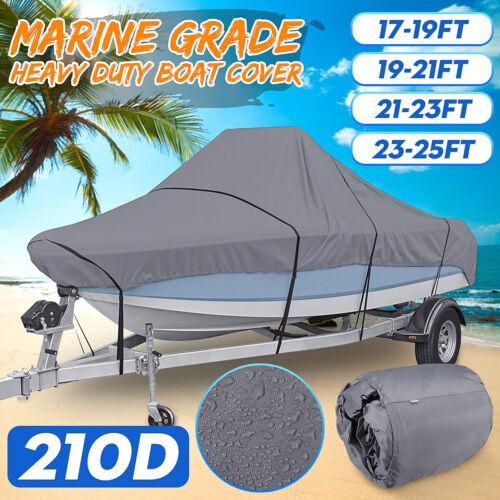 17-25ft 210D Trailerable Boat Cover Marine Grade Waterproof For V-hull  \//