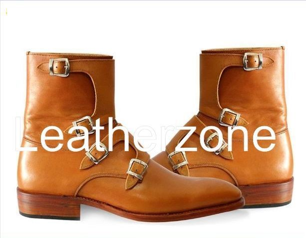 Handmade Men Brown Tetra-Monk Strap Pure Leather Half-long Boots, Mens boots