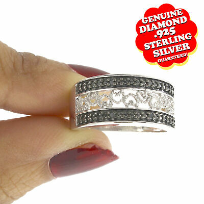 Black Diamond Ring 925 Sterling Silver Band Channel Set Wedding Band .51ct