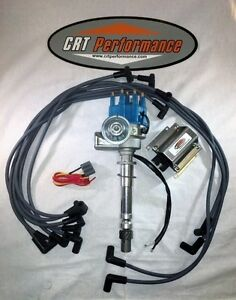 SB Chevy SBC Small Cap H.E.I HEI Distributor Kit W// Plug Wires /& Canister Coil