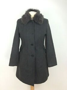 Womens-Klass-Wool-Blend-Grey-Button-Up-Frock-Coat-Jacket-Size-14