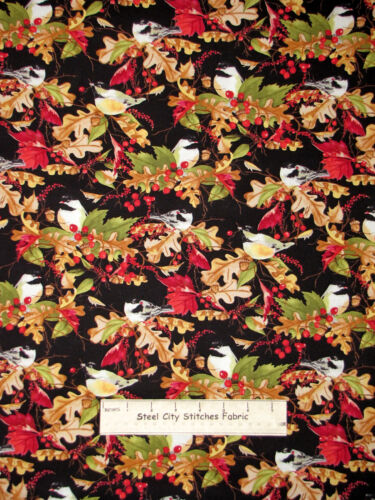 Christmas Bird Leaves Holiday Fabric A Colorful Season 33741 Cotton By The Yard