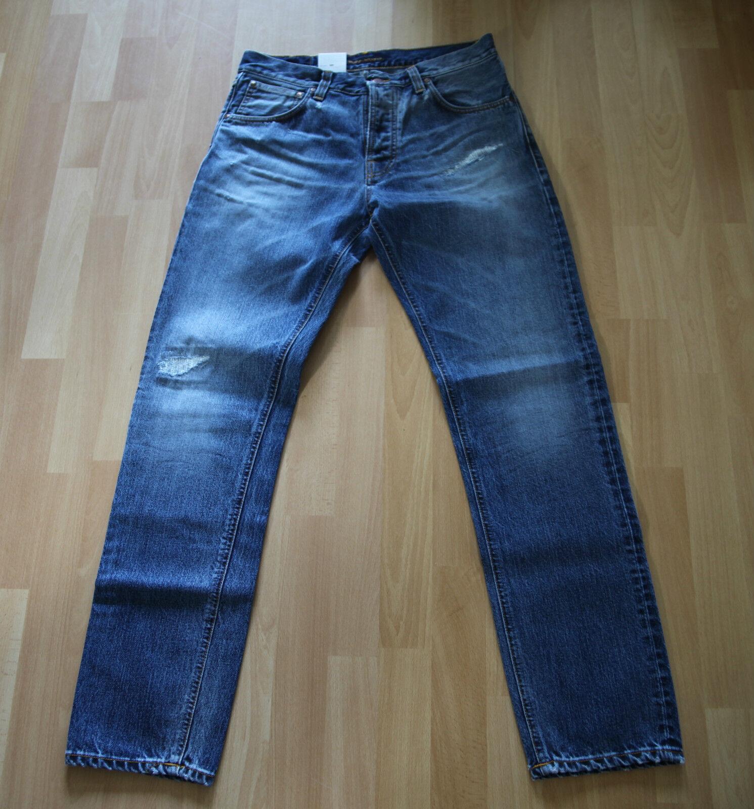NUOVO Nudie Jeans steady Eddie (Straight Fit) Organic Sparkling Navy 32 32