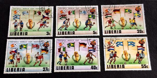 AgréAble 6 Cancelled Stamps Liberia ???? ???? 1982 Football ArôMe Parfumé