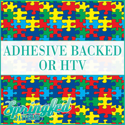 AUTISM Puzzle Pattern Adhesive Craft Vinyl or HTV for Crafts or Shirts!