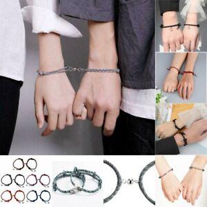 2PCS Natural Stone Braided Rope Bracelet Bangle Friendship Couple Card Jewellery