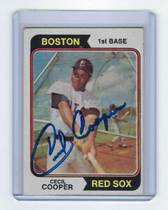 1974-Red-SOX-Cecil-Cooper-signed-card-Topps-523-AUTOGRAPHED-AUTO-Boston