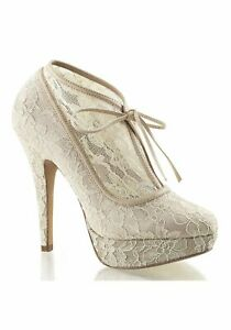 Fabulicious LOLITA-32 5/'/' Heel 1/'/' Platform Lace Overlay Bootie With Bow Tie