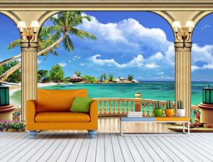 3D Kiosk Sea White Coulds Paper Wall Print Wall Decal Wall Deco Indoor Murals