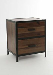 table chevet bois de pin et fer tamblo home mesita noche n74 neuf ebay. Black Bedroom Furniture Sets. Home Design Ideas