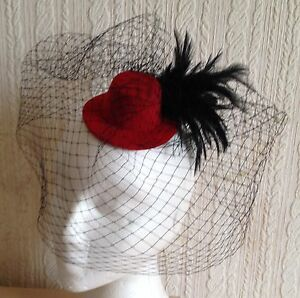 black-veiling-feather-red-mini-top-hat-fascinator-millinery-wedding-party-race