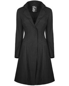Punk-Rave-Womens-Gothic-Coat-Jacket-Black-Steampunk-VTG-Victorian-Mid-Length
