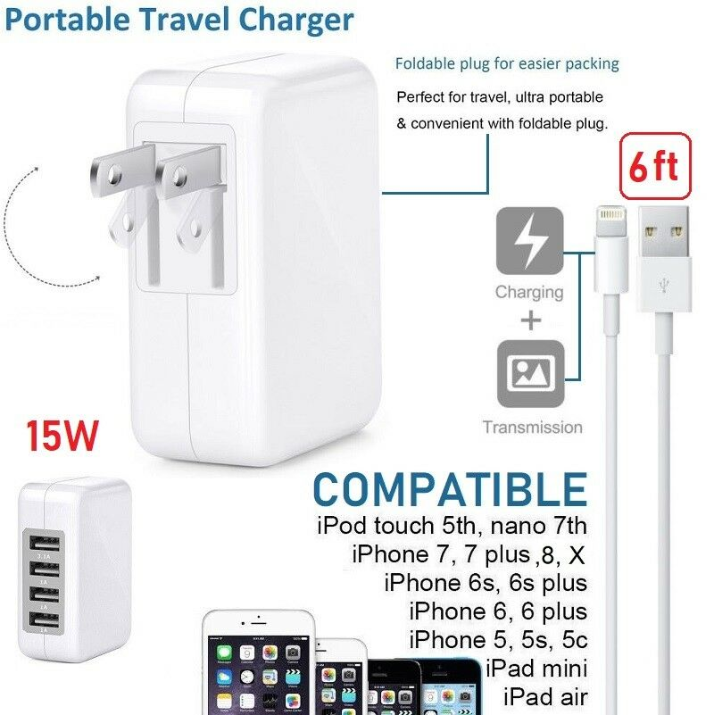 For Iphone 5,SE,6,7,8,X 3A 15W High Speed 4 Port USB Wall Charger With 6ft cable