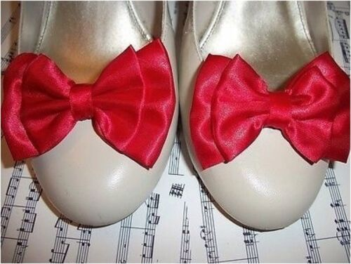 COPPIA ROSSO RASO FIOCCO scarpa Clip 40V 50s Stile Vintage Vamp GLAMOUR fiocchi fatti a mano