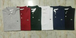 NWT-Lacoste-Men-Polo-Shirt-Cotton-Short-Sleeve-Slim-Fit-Pique-Golf-3-Button-NEW