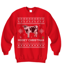 Cow Ugly Sweater Red Dairy Ugly Christmas Sweater Mooey