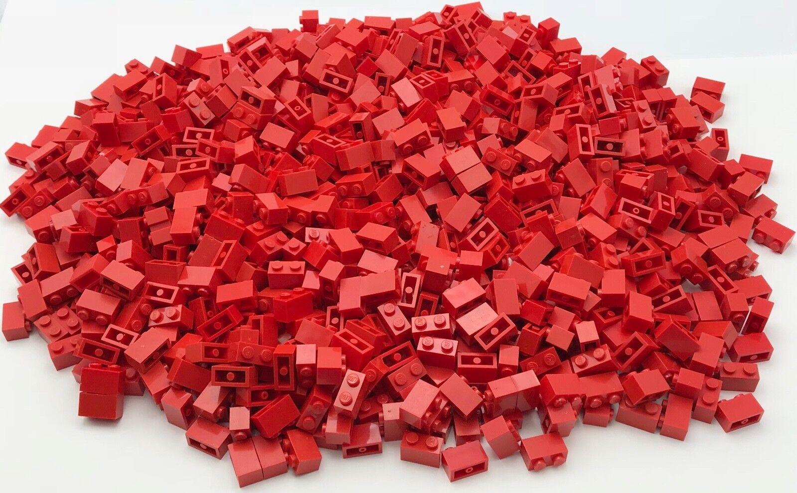 Lego 1000 Rojo 1 X 2 Dot Stud Ladrillos Piezas de bloques de construcción