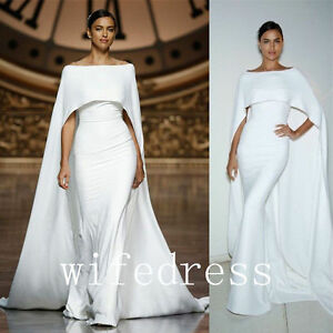 Image Is Loading White Off Shoulder Cloak Dresses Evening Prom Cape