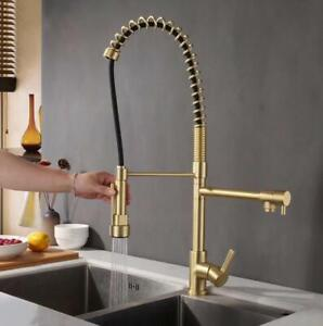 Details about Brushed Gold, Black Brass Kitchen Sink Faucet Dual Handles  Double Hole Mixer Tap