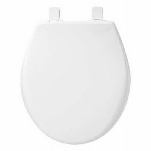 Mayfair 87SLOW000 White Round Slow Close Plastic Toilet Seat w EZ Clean Hinges