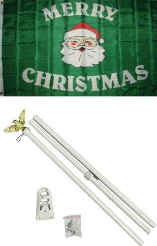 3x5 Merry Christmas Santa Face Flag White Pole Kit Set 3/'x5/'