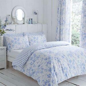 toile-florale-raye-bleu-Super-Housse-de-couette-King-Size-amp-Rideau-plisse