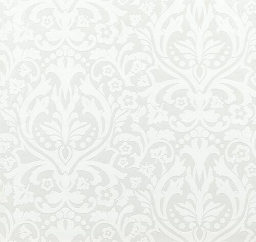 2,42€//1qm Design CHELSEA RASCH Tapete 758733 Barock Tapete weiß metallic