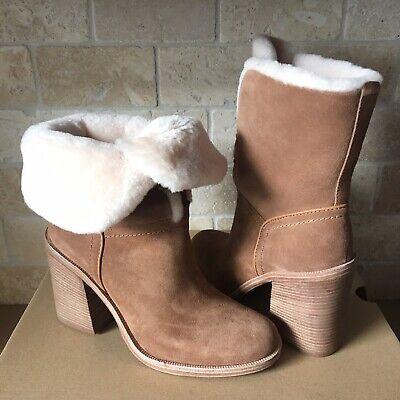 13384d6c3af UGG JERENE CHESTNUT SUEDE SHEEPSKIN LACE HEELS SHORT BOOTS BOOTIES SIZE 8  WOMENS | eBay