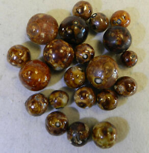 #12993m Vintage Group of 20 German Handmade Bennington Marbles  .44 to .80 In