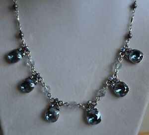 Vintage Flying Fairy Brass Necklace with Blue Crystal Accents