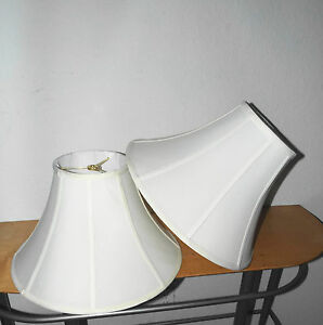 "LAMP SHADES PAIR HOTEL STYLE LARGE FABRIC LAMP SHADES 12""H x 18""W AWESOME NICE"