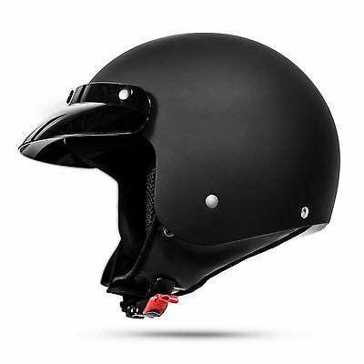 Retro Motorradhelm 031 Schwarz matt Größe S ECE 2205 Oldtimer Police Jet Helm