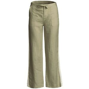 Innovative Women39s Khaki Linen Fold Over Pant Front View