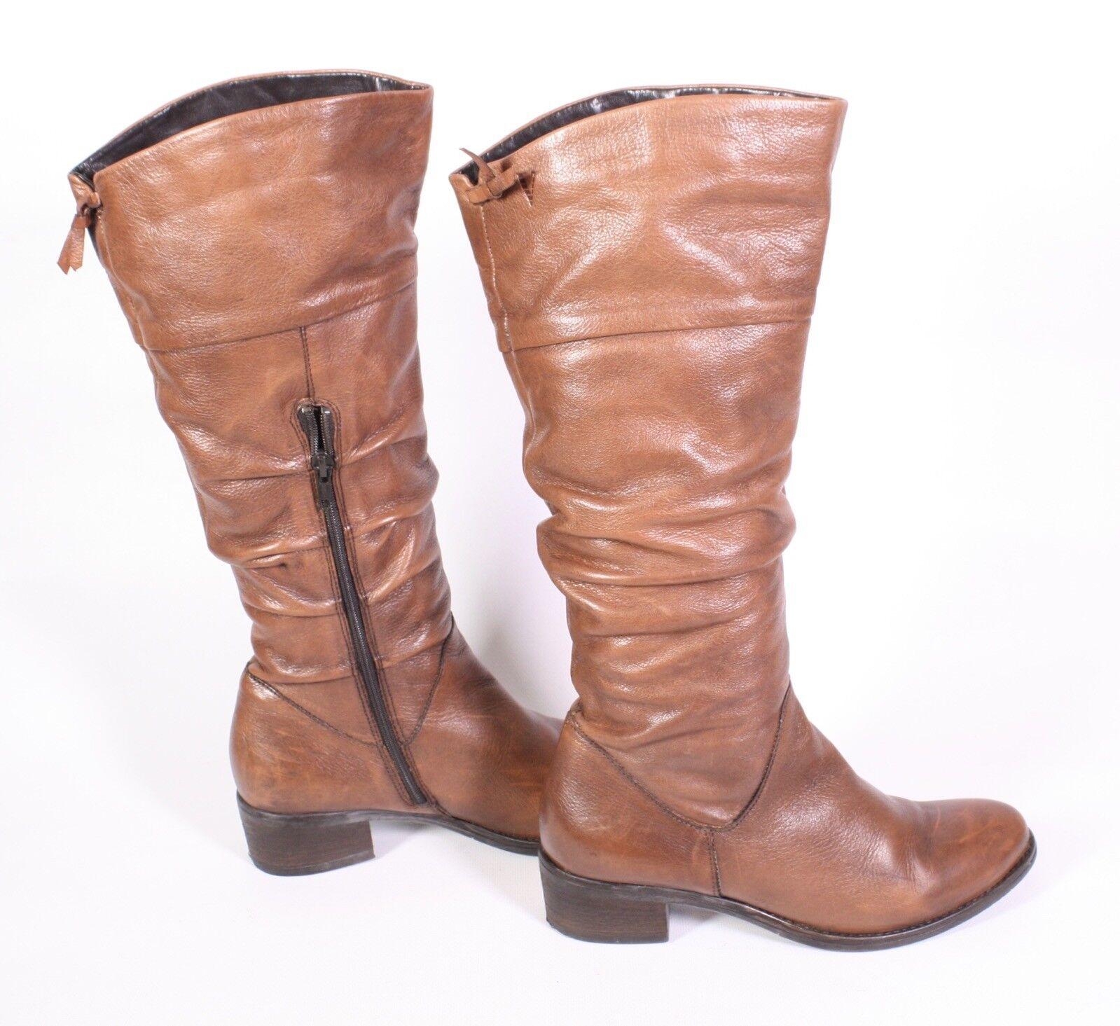 #22S Venturini Damen Stiefel Leder braun Gr. 37 Slouchy Boots flacher Absatz
