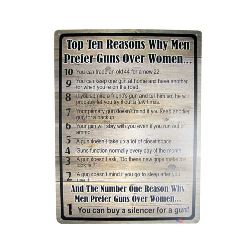 Funny Top 10 Reasons Why Men Prefer Guns Metal Sign Novelty Bar Pub Wall Decor