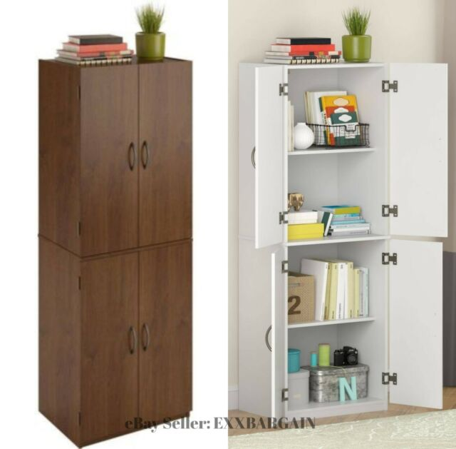 Tall Storage Cabinet Wooden Pantry Utility Doors Shelves Kitchen Closet White For Online Ebay