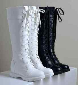5dcf32a43b1 Women s Knee High Boots PU Leather Lace Up Low Block Heel Combat ...