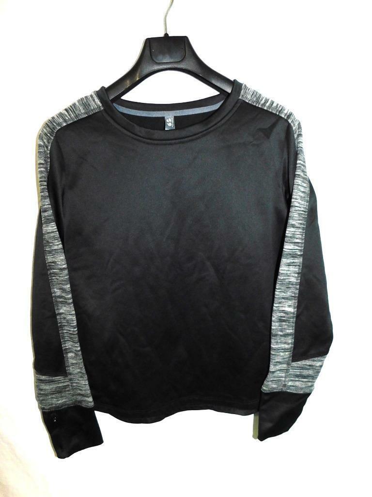 Mountain Hardwear M Black Gray Sweatshirt Fleece Sleeve Stripes Womens Md