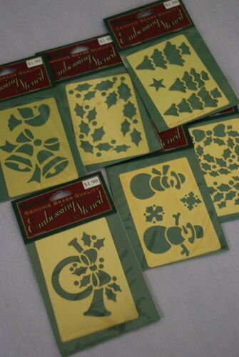 Christmas Collection Darice Brass Embossing Stencils Holly Trees Snowmen Dove