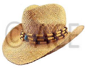 Womens Straw Summer Hats Ladies Wide Brim Natural Bead Detail Cowboy ... d4a72125fa7b