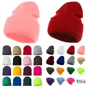 Beanie-Hat-Mens-Ladies-Womens-Slouch-Winter-Woolly-Ski-Knitted-Turn-Up-Neon-Warm