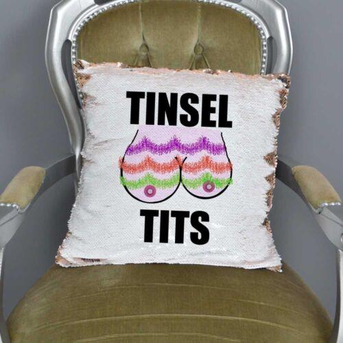Tinsel Tits-Boobs Sequin CushionChristmas CushionFunny Rude Xmas Gift
