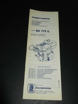 TECUMSEH BH 173 G Engines Owners manual /& Operating Instructions